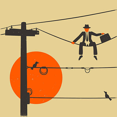 Wire Digital Art - Man On A Wire by Jazzberry Blue