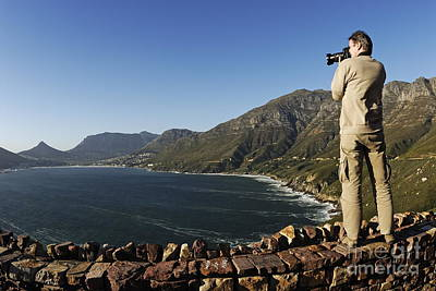 Man Photographing Hout Bay Print by Sami Sarkis