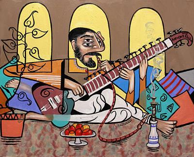 Man Playing A Sitar Print by Anthony Falbo