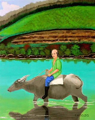 Filipino Painting - Man Riding A Carabao by Cyril Maza