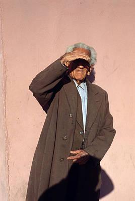 Aghast Photograph - Man Shading Eyes by Mark Goebel