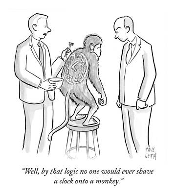Monkeys Drawing - Man Shaving A Clock Onto A Monkey's Back by Paul Noth