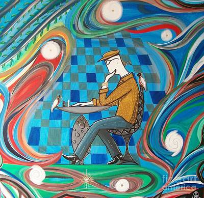 Man Sitting In Chair Contemplating Chess With A Bird Original by John Lyes