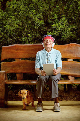 Senior Dog Photograph - Man Sitting On Bench With Dog by Ktsdesign
