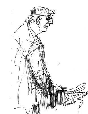 Sketch Drawing - Man Standing by Ylli Haruni