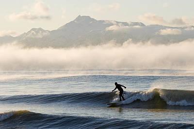 Man Surfing In Moring Near Homer Print by Scott Dickerson