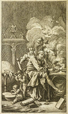 Man Surrounded Cherubs Print by British Library