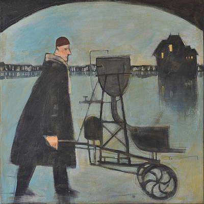 Man Walking Machine On Beach Original by Tim Nyberg