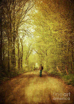 Man Walking  On A Lonely Country Road Print by Sandra Cunningham