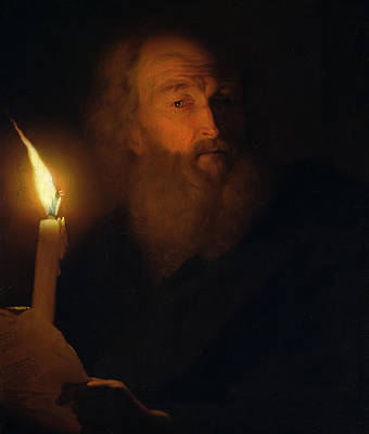 Candle Lit Painting - Man With A Candle by Godfried Schalken