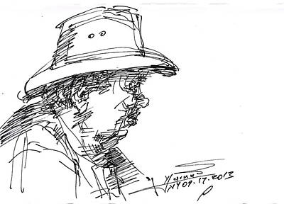Sketch Drawing - Man With A Hat by Ylli Haruni