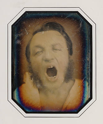 French Open Drawing - Man With Open Mouth Unknown Maker, French About 1852 by Litz Collection