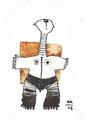 Modern Abstract Mixed Media - Man With Painted Legs Orange  by Mark M  Mellon