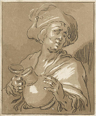 Old Pitcher Drawing - Man With Pitcher, Print Maker Hermanus Fock by Artokoloro