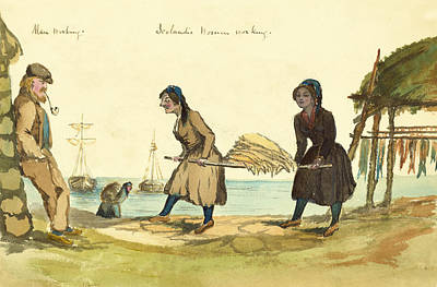 Harbors Drawing - Man Working And Icelandic Women Working Circa 1862 by Aged Pixel