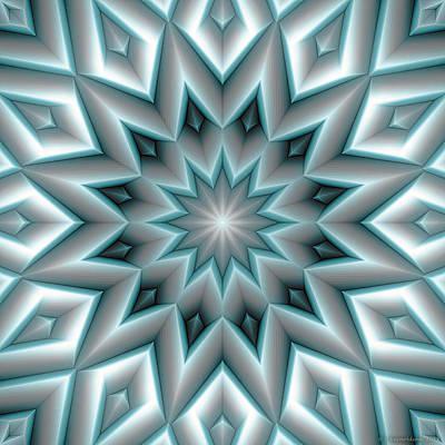 Metaphysical Digital Art - Mandala 107 Blue by Terry Reynoldson