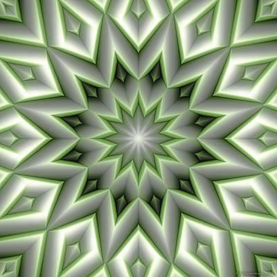 Circle Digital Art - Mandala 107 Green by Terry Reynoldson