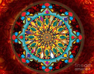 Abstract Digital Mixed Media - Mandala Droplets Sp by Bedros Awak