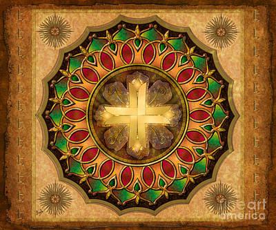 Mandala Illuminated Cross Sp Print by Bedros Awak