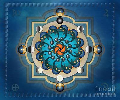Icon Mixed Media - Mandala Moon Phases - Sp by Bedros Awak