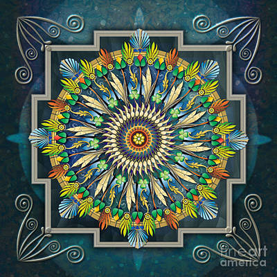 Paradox Digital Art - Mandala Night Wish by Bedros Awak