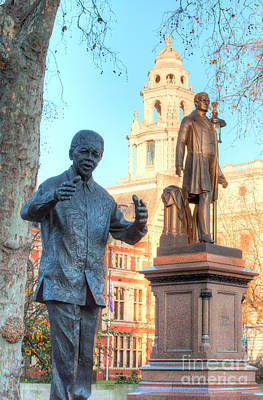 London Photograph - Mandela And Peel Parliament Square by Deborah Smolinske
