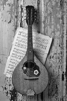Old Sheet Music Photograph - Mandolin In Black And White by Garry Gay