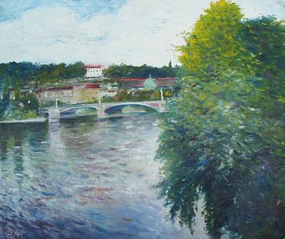 Painting - Manesuv Most Prague Czech Republic  by Enver Larney