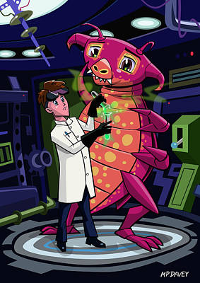 Friendly Drawing - Manga Professor With Nice Pink Monster Experiment by Martin Davey
