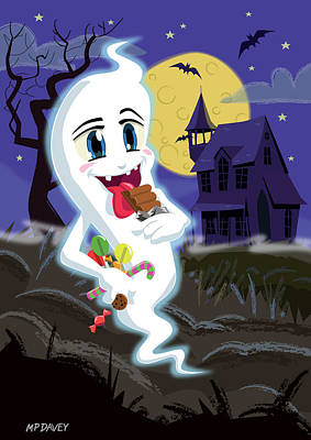 Bat Drawing - Manga Sweet Ghost At Halloween by Martin Davey
