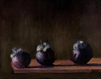 Monotone Painting - Mangostein by Aruna Nair
