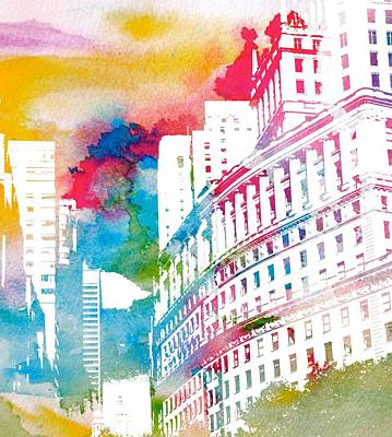 Architecture Mixed Media - Manhattan Architecture Watercolor by Dan Sproul