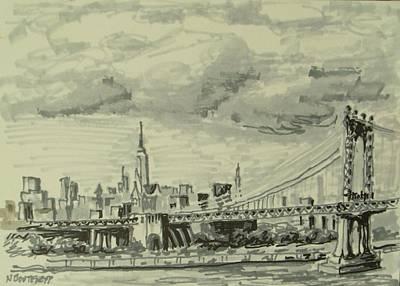 Empire State Building Drawing - Manhattan Bridge by Nicolas Bouteneff