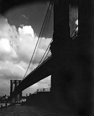 Manhattan Brooklyn Bridge View Print by Underwood Archives