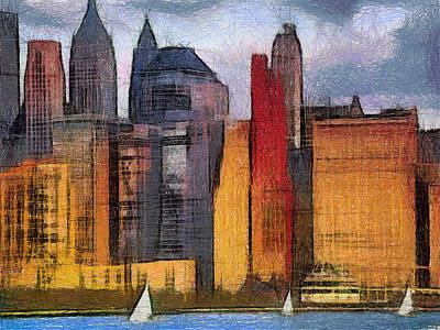 Twin Towers Nyc Painting - Manhattan Digital Painting by Georgi Dimitrov