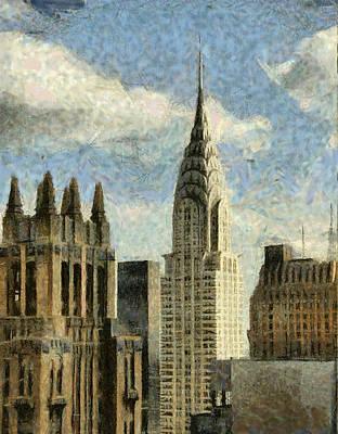 Twin Towers Nyc Painting - Manhattan  by Georgi Dimitrov
