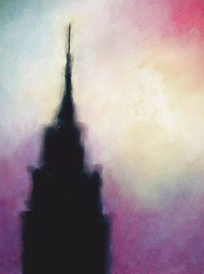 Empire State Building Drawing - Manhattan Haze by Janel Bragg