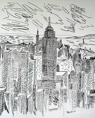 Nyc Mixed Media - Manhattan by Janice Rae Pariza