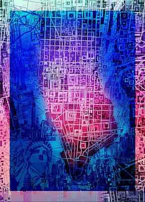 Chrysler Building Digital Art - Manhattan Map Abstract 5 by Bekim Art