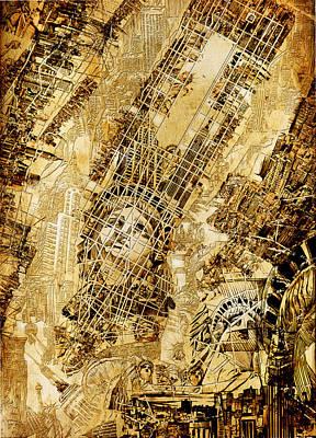 Chrysler Building Digital Art - Manhattan Map Antique by Bekim Art