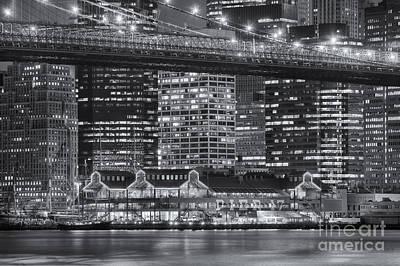 Brooklyn Bridge Photograph - Manhattan Night Skyline Vi by Clarence Holmes