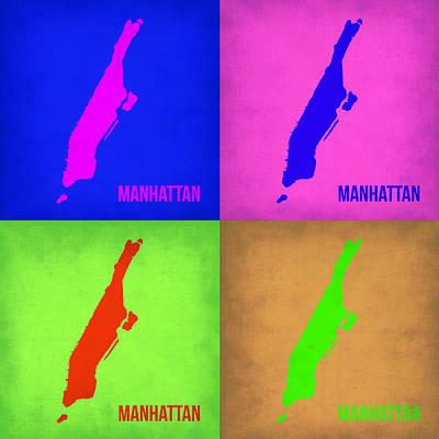 City Map Painting - Manhattan Pop Art Map 1 by Naxart Studio
