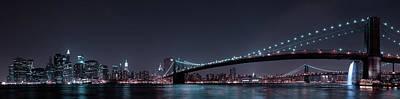 Manhattan Skyline And Brooklyn Bridge Print by Fabien Bravin