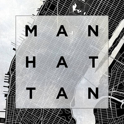 Text Map Digital Art - Manhattan Square Bw by South Social Studio