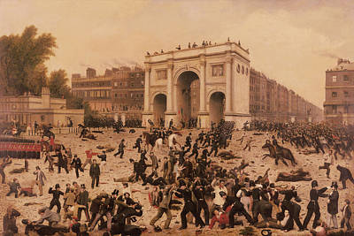 Manhood Suffrage Riots In Hyde Park, 1866 Oil On Canvas Print by Nathan Hughes