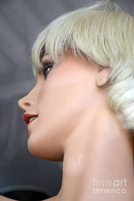 Mannequin Photograph - Mannequin Art - Blonde Female Mannequin Face  by Kathy Fornal