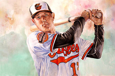 Ripkin Painting - Manny Machado by Michael  Pattison