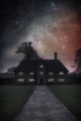 Manor At Night Print by Joana Kruse