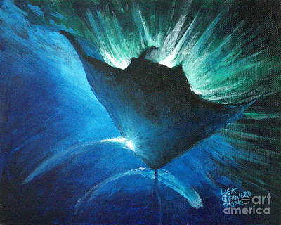 Manta At The Surface Print by Lisa Pope