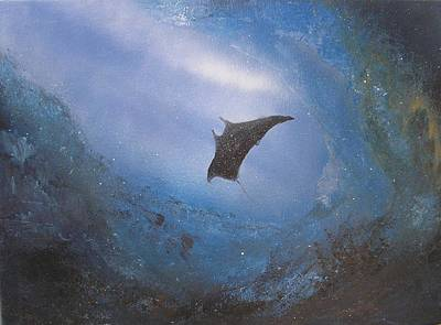 Manta In Sea Cave Print by Affordable Art Halsey